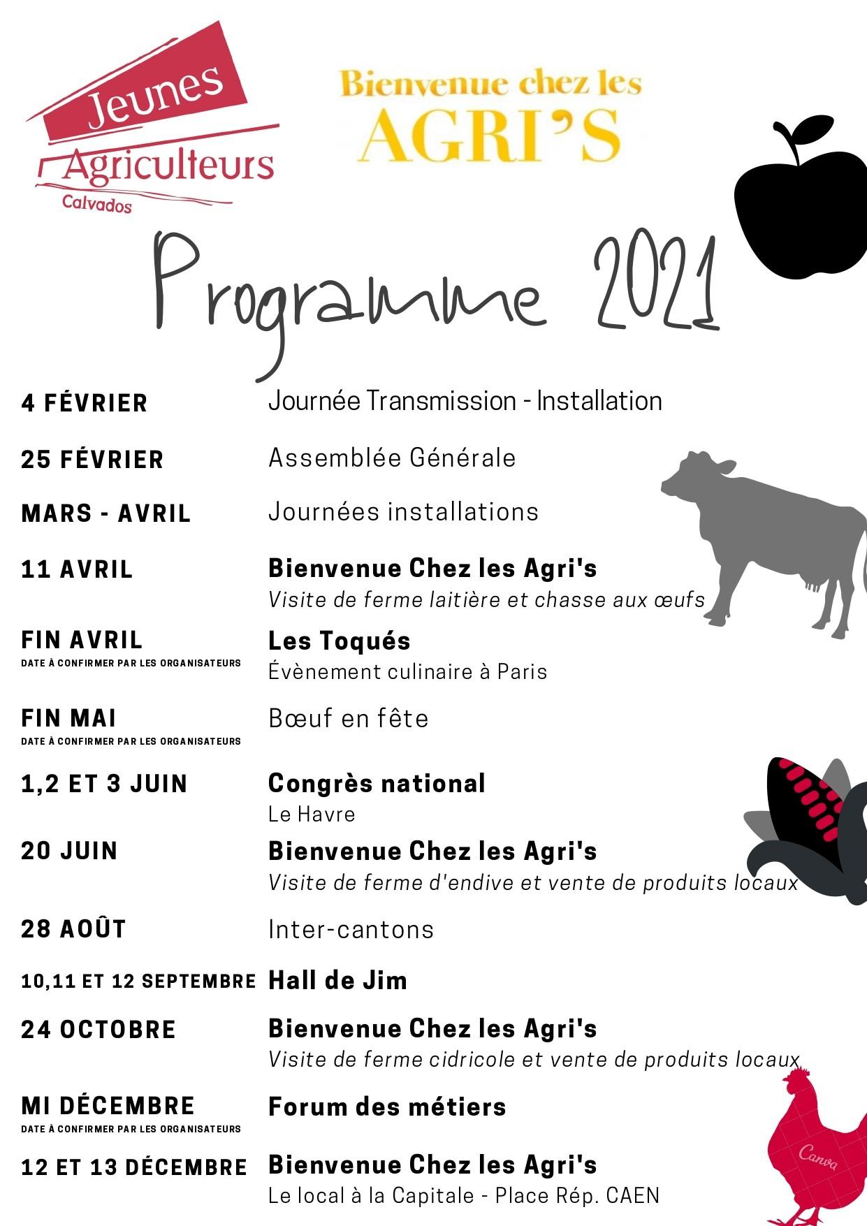 JA 14 - Programme 2021 - Jeunes Agriculteurs du Calvados